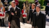 Prince Harry talks to brother Prince William after Prince Philip's funeral