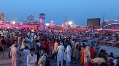 Devotees at Har Ki Pauri in Uttarakhand's Haridwar on Sunday