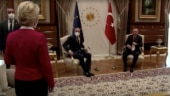 Presidents walk in for meeting in Turkey, men take chairs, woman left standing