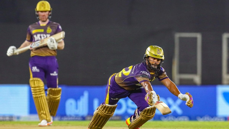 Rahul Tripathi survived a close run-out chance in the 4th over of KKR's run chase vs PBKS (Courtesy of PTI/BCCI)