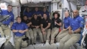 Biggest space station crowd in decade after arrival of SpaceX's crew capsule