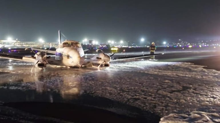 The C-90 airplane after attempting a successful emergency landing at Mumbai airport on Thursday