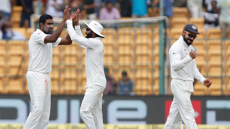 R Ashwin, Ravindra Jadeja with captain Virat Kohli in a file photo. (Reuters Pictures)
