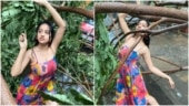TV actress Deepika Singh poses beside tree uprooted by Cyclone Tauktae. Internet blasts her