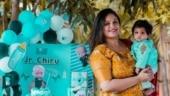 Jr Chiru keeps mum Meghana Raj awake at night. Watch video