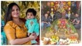 Meghana Raj and friends visit Chiranjeevi Sarja's memorial on his death anniversary