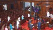Swapan Dasgupta, Mahesh Jethmalani take oath as Rajya Sabha MPs