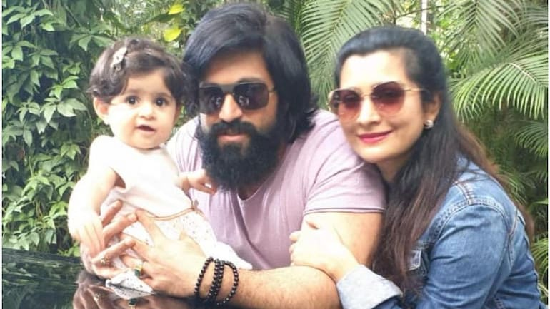 Yash and Radhika Pandit's daughter Ayra waves to her shadow in old video.