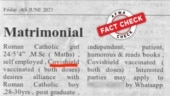 Fact Check: Matrimonial ad seeking fully vaccinated groom is fake