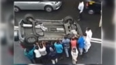 Mumbaikars put overturned car back on its wheels in viral video. Instagram reacts