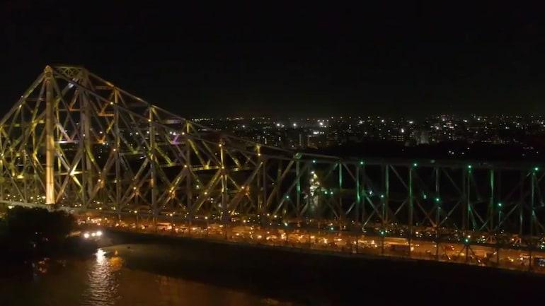 Howrah Bridge lit up in Olympic colours (Screengrab from Syama Prasad Mookerjee Port video)