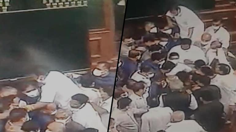 Watch: Video of Rajya Sabha rumpus involving marshals, MPs - India News
