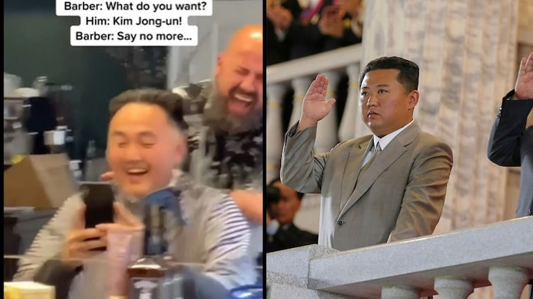 Man asks barber to style his hair like Kim Jong Un in viral video.