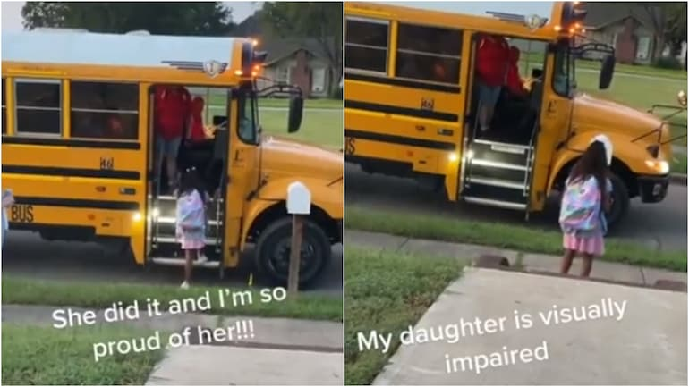 Visually-impaired girl boards school bus all by herself in viral TikTok video. (Photos: Twitter)