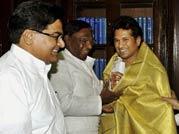 Sachin takes guard as Rajya Sabha member