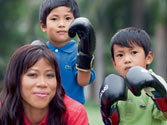 Mary Kom with her kids on Good Housekeeping