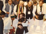 Rahul hugs mother Sonia after becoming Congress VP
