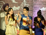Boxer Vijender Singh dances on stage at India Today Mind Rocks Youth Summit 2014
