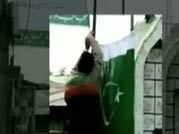Pakistani flags hoisted by Mirwaiz supporters in Srinagar