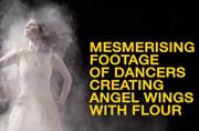 Watch: Dancers create angel wings with flour
