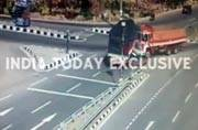 Ghastly accident caught on CCTV: Car crushed between two trucks in Telangana