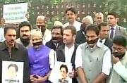 Rahul Gandhi leads protest outside Parliament against hushing up of E Ahamed's death