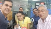 CBSE topper Anushka Panda (centre) in India Today Newsroom