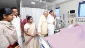Vice-president Venkaiah Naidu visits Karunanidhi in hospital
