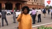 TDP MP dresses as Sathya Sai Baba to demand spacial status to Andhra Pradesh