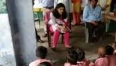Good News: Bahraich DM Mala Srivastava takes out time to teach in govt school