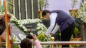 Devendra Fadnavis lays a wreath at the Martyrs' Memorial in Mumbai.