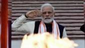 PM Modi lights the Amar Jawan Jyoti at the National War Memorial.