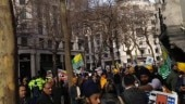 Protesters clash outside Indian mission in London