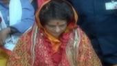 Priyanka Gandhi in a temple.