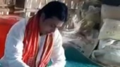 Tripura CM Biplab Kumar Deb eats lunch at a tribal family's house