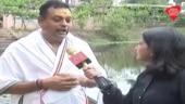 Sambit Patra takes a holy dip at a pond in Odisha