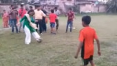 TMC candidate Mimi Chakraborty plays football as she campaigns in Jadavpur