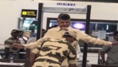 Chandrababu Naidu being frisked at airport.