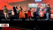 Agenda AajTak: Baba Ramdev takes on Mary Kom, Vijender Singh, Sushil Kumar in push-ups battle