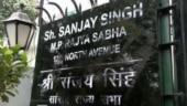 Protesters blacken AAP MP Sanjay Singh's nameplate outside his Delhi house