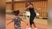 Image of the day: Serena gives tennis lessons to her daughter