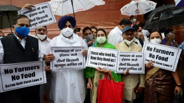 Watch | SAD, BSP MPs protest against farm laws outside Parliament | IndiaToday