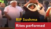 Watch: Daughter Bansuri performs last rites of Sushma Swaraj