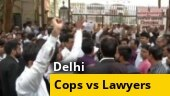 Lawyers protest outside district courts in Delhi