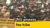 JNU students protest outside campus against fee hike