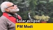 Watch: PM Modi tries to catch a glimpse of solar eclipse