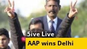 AAP's 'jhadu' sweeps Delhi, Kejriwal calls it victory of Bharat Mata; BJP down to single digit; more