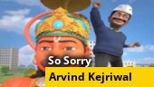 So Sorry: Kejriwal sings 'jai jai Bajrangbali, jeet li maine Dilli'