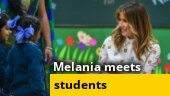 US First Lady Melania Trump interacts with kids at Delhi school