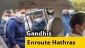 Watch: Priyanka Gandhi Vadra, Rahul Gandhi enroute Hathras from Delhi